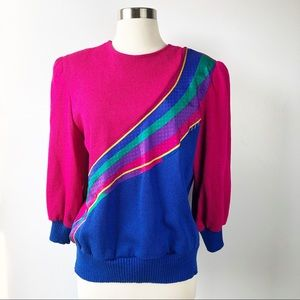Vintage 80s 90s Pink Blue Colorful Striped Sweater
